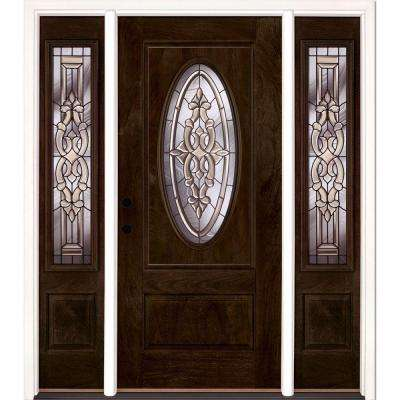 59.5 in.x81.625in.Silverdale Zinc 3/4 Oval Lt Stained Chestnut Mahogany Rt-Hd Fiberglass Prehung Front Door w/ Sidelites