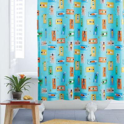 Beach Blanket 72 in. Cotton Percale Shower Curtain