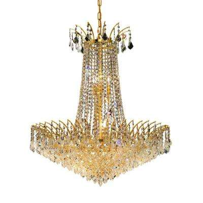 16-Light Gold Chandelier with Clear Crystal