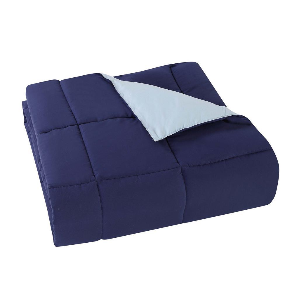 Everyday 3-Piece Navy and Light Blue Queen Comforter Set