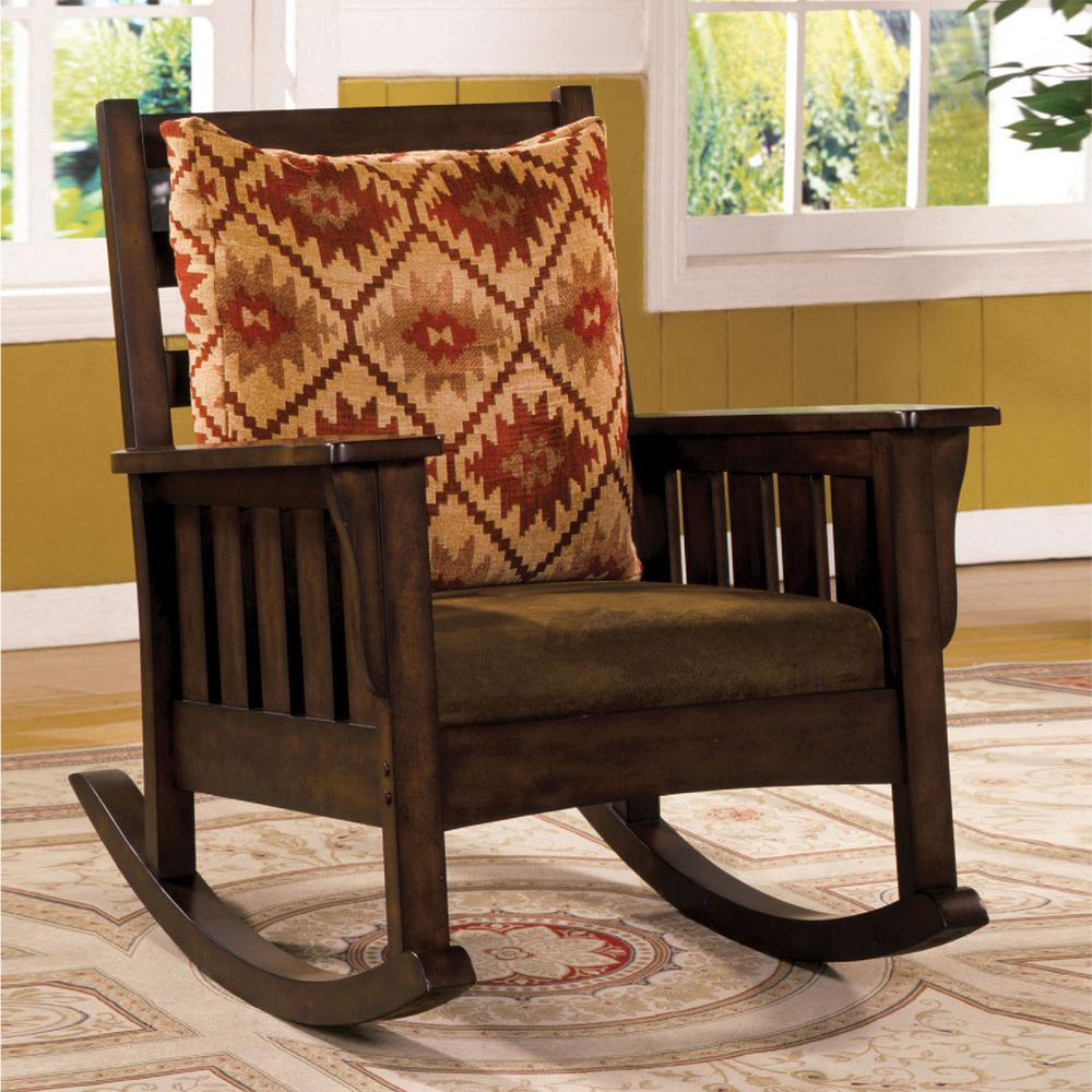 Morrisville Dark Oak Wood Rocking Arm Chair, Dark Oak Finish