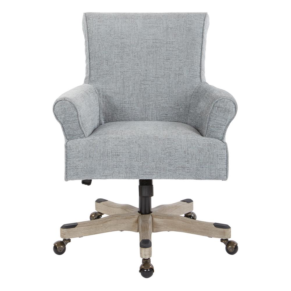 OSP Home Furnishings Megan Mist Fabric Office Chair with Grey Wash Wood, Mist Polyester Create the home office of your dreams with this classic desk chair. Envelope yourself in the luxury of polyester fabric, while the scroll back and rolled arms offer stylish, comfortable support while working. A lacquered wood base allows adjustable height and effortless movement from task to task. Dress up your home office with the OSP Accents Megan office chair. Color: Mist Polyester.