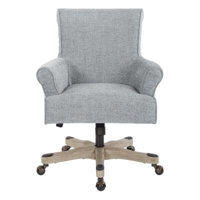 Megan Mist Fabric Office Chair with Grey Wash Wood