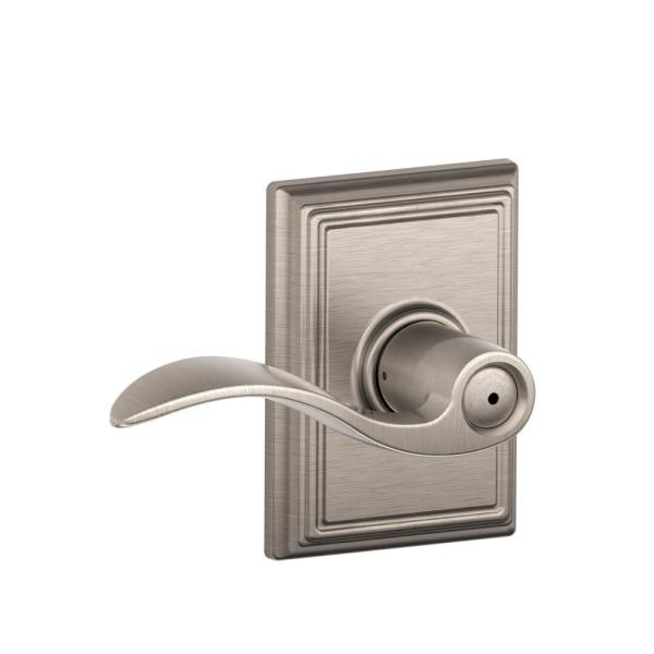 Accent Satin Nickel Privacy Bed/Bath Door Lever with Addison Trim