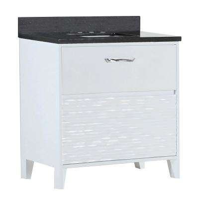 Tustin 30 in. W x 19 in. D x 34 in. H Single Vanity in White with Granite Vanity Top in Black Galaxy with White Basin