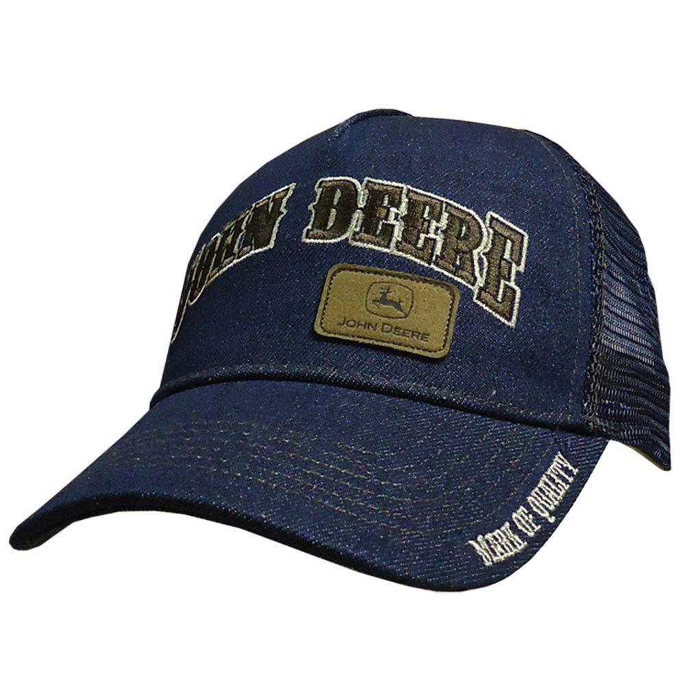 John Deere Men's One-Size 5-Panel Trucker Hat/Cap in Denim Mesh Back with Brown Details