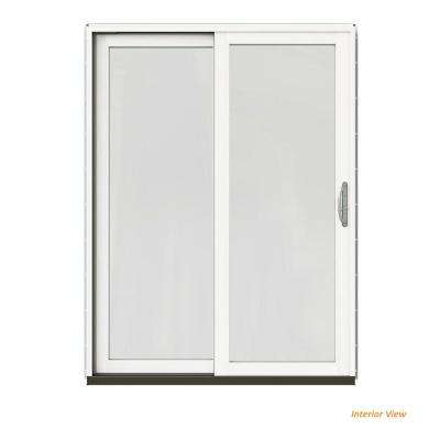 60 in. x 80 in. W-2500 Contemporary White Clad Wood Left-Hand Full Lite Sliding Patio Door w/White Paint Interior