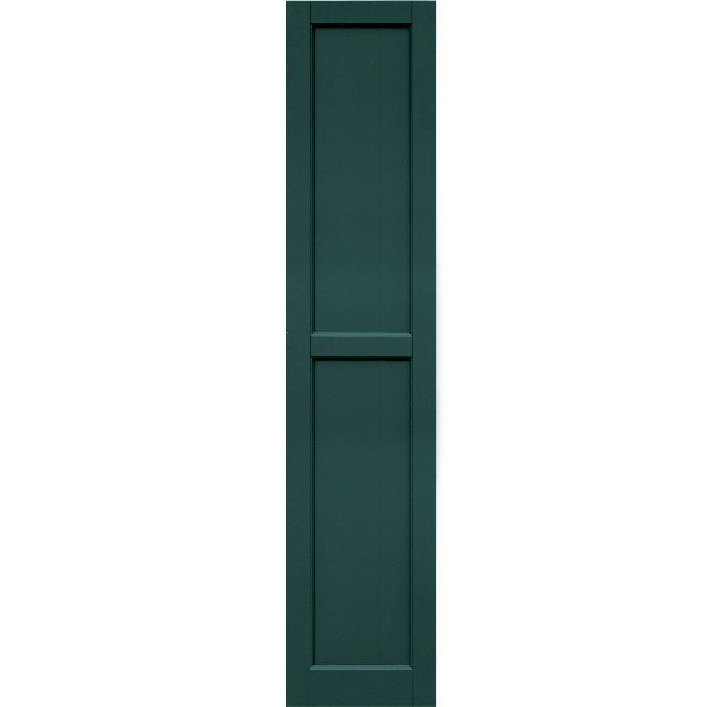 Winworks Wood Composite 15 in. x 71 in. Contemporary Flat Panel Shutters Pair #633 Forest Green