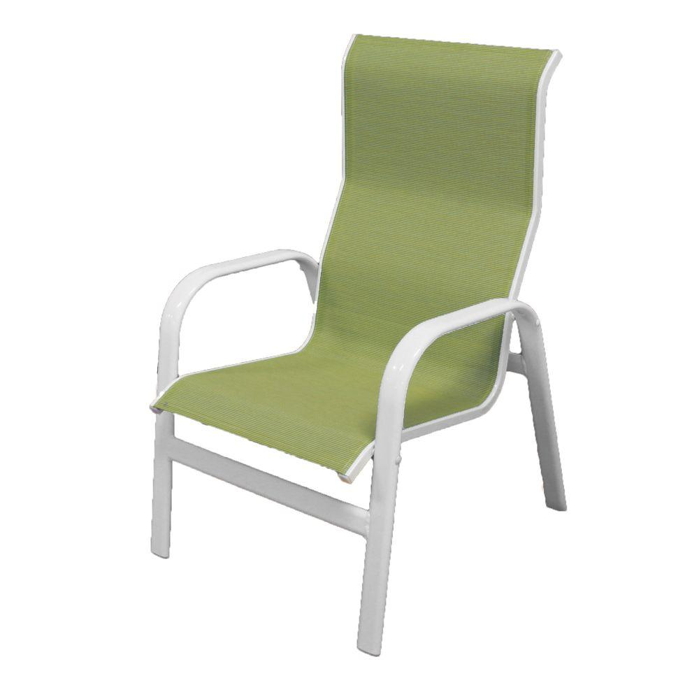 Marco Island White Commercial Grade Aluminum Patio Dining Chair with Dupione