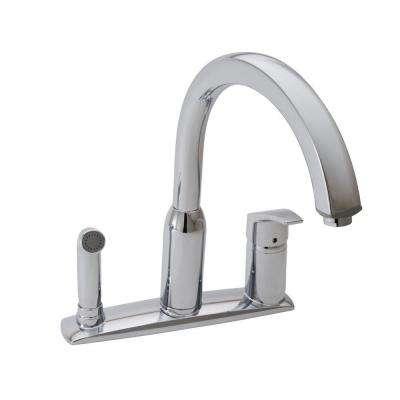Arch Single-Handle Standard Kitchen Faucet with Side Sprayer in Polished Chrome