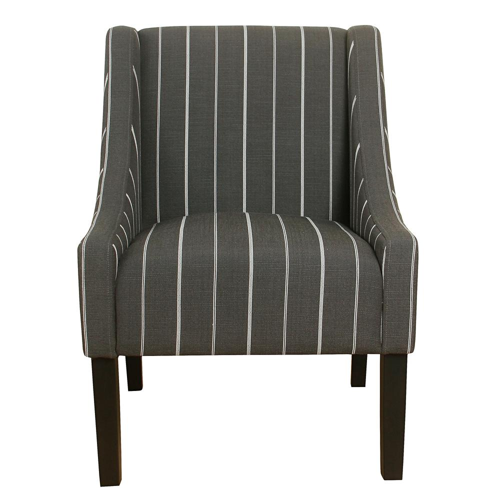 Striped charcoal polyester modern swoop accent chair