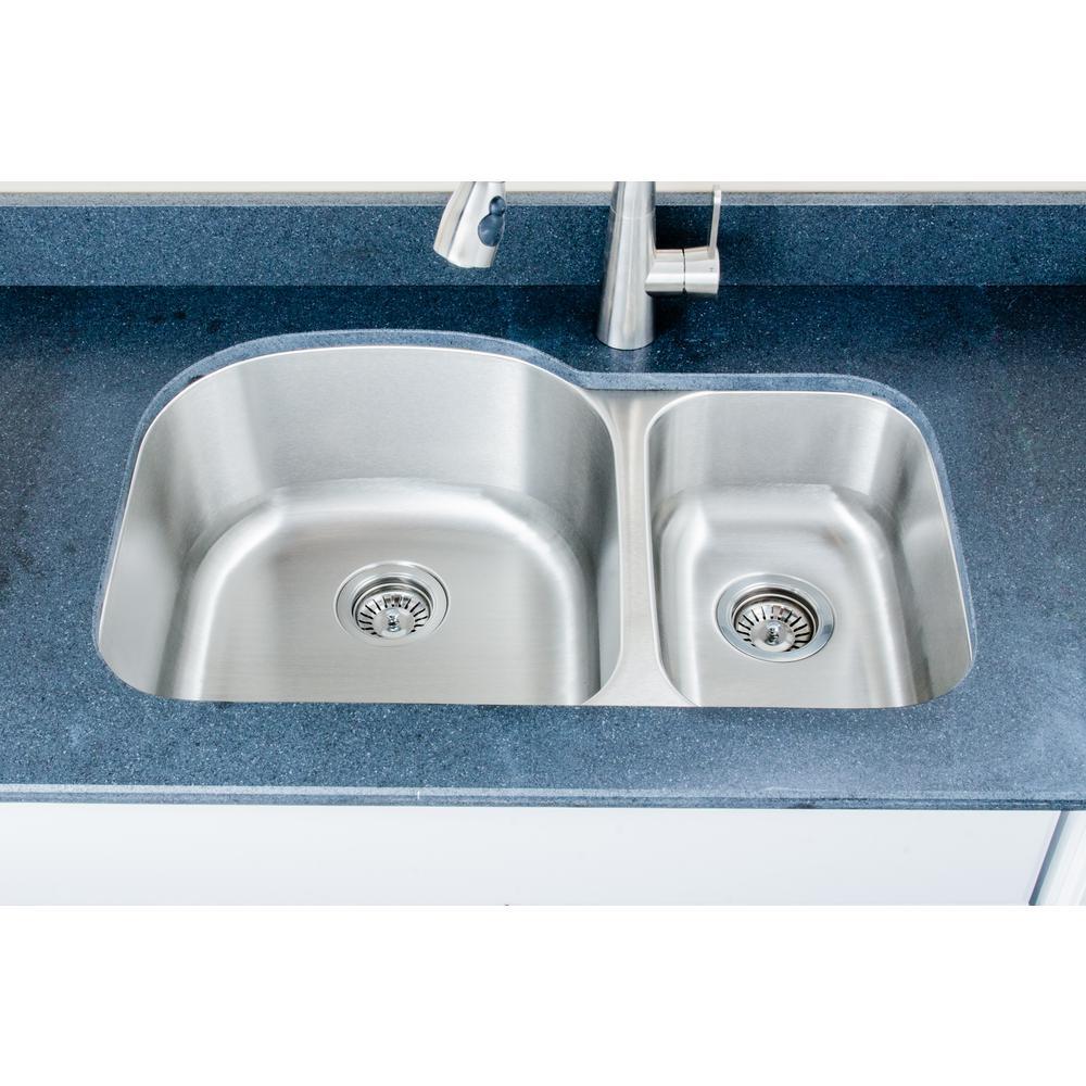 The Craftsmen Series Undermount Stainless Steel 31 in. 70/30 Double Bowl Kitchen Sink