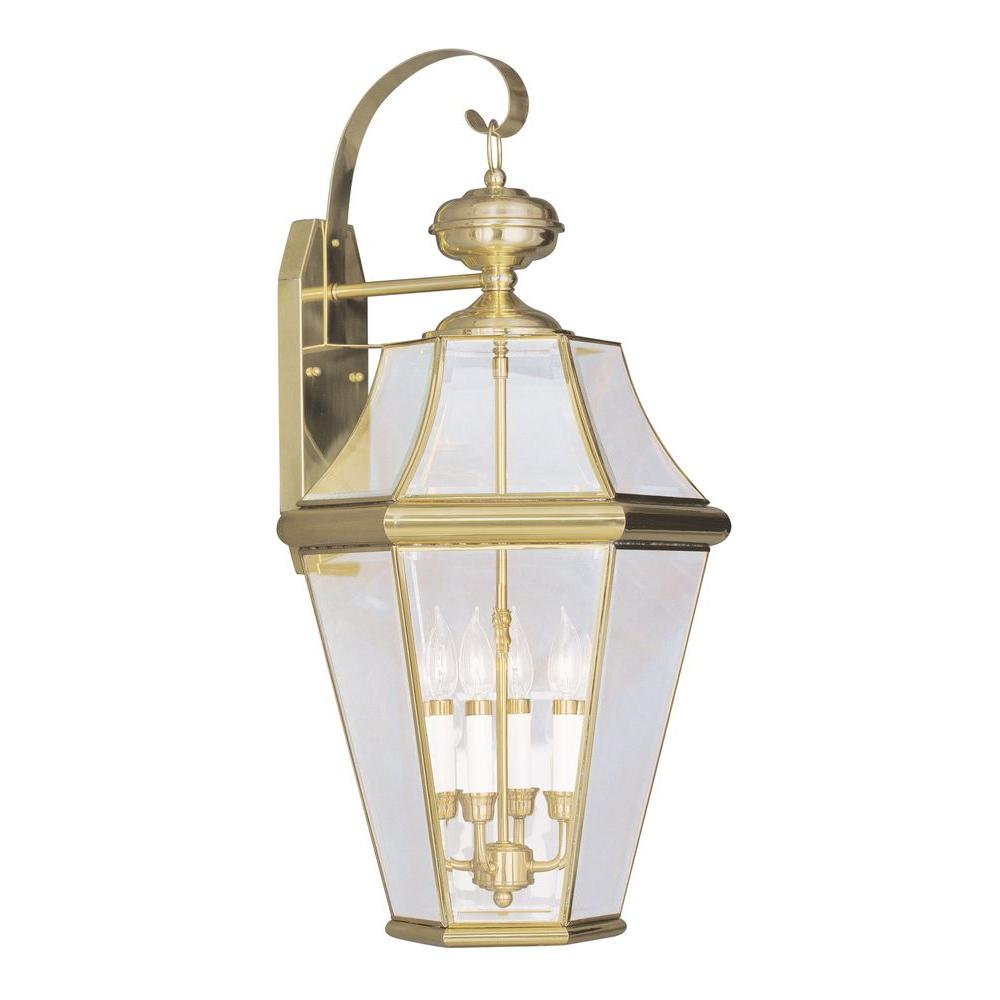 Livex Lighting 4-Light Bright Brass Outdoor Wall Lantern with Clear Beveled Glass