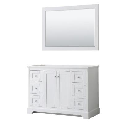 Avery 47.25 in. W x 21.75 in. D Bathroom Vanity Cabinet Only with Mirror in White