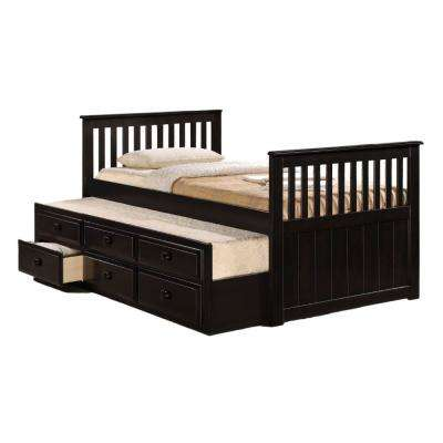 Cappuccino Brown Twin Size Bed with 3 Drawer Storage