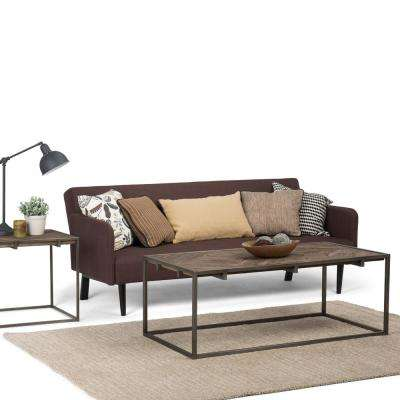 Avery Distressed Java Brown Wood Inlay Coffee Table