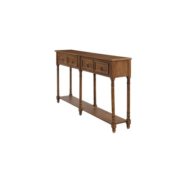 Boyel Living 58 In Walnut Standard Rectangle Wood Console Table With Drawers Tr Wf188957aad The Home Depot