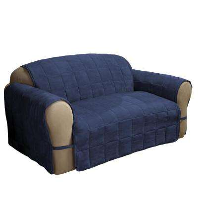 Ultimate Faux Navy Suede Loveseat Protector