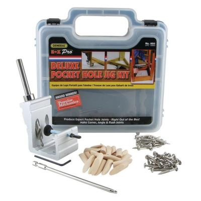 76-Piece Aluminum Pocket Hole Jig Kit with Pocket Screws Dowels and Storage Case