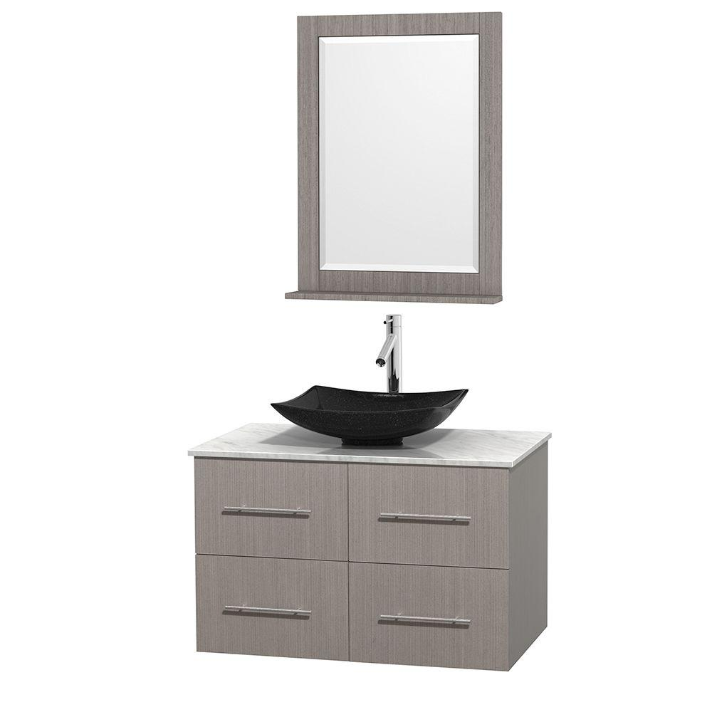 Wyndham Collection Centra 36 in. Vanity in Gray Oak with Marble Vanity Top in Carrara White, Black Granite Sink and 24 in. Mirror