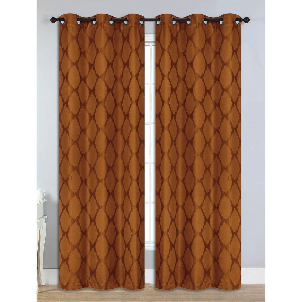 Semi-Opaque Julia Jacquard Room Darkening Grommet Curtain Panel