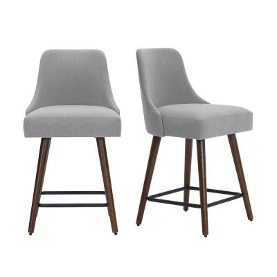 Benfield Brown Wood Upholstered Counter Stool with Back and Stone Gray Seat (Set of 2) (19.48 in. W x 36 in. H)