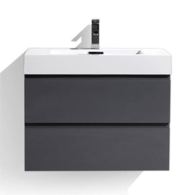 Fortune 30 in. W Bath Vanity in High Gloss Gray with Reinforced Acrylic Vanity Top in White with White Basin