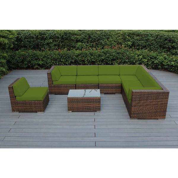 Mixed Brown 8-Piece Wicker Patio Seating Set with Sunbrella Macaw Cushions