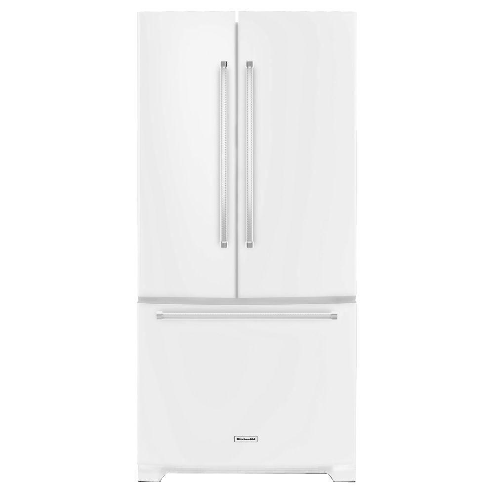 Kitchenaid 22 1 Cu Ft French Door Refrigerator With Ice: KitchenAid 33 In. W 22.1 Cu. Ft. French Door Refrigerator In White-KRFF302EWH