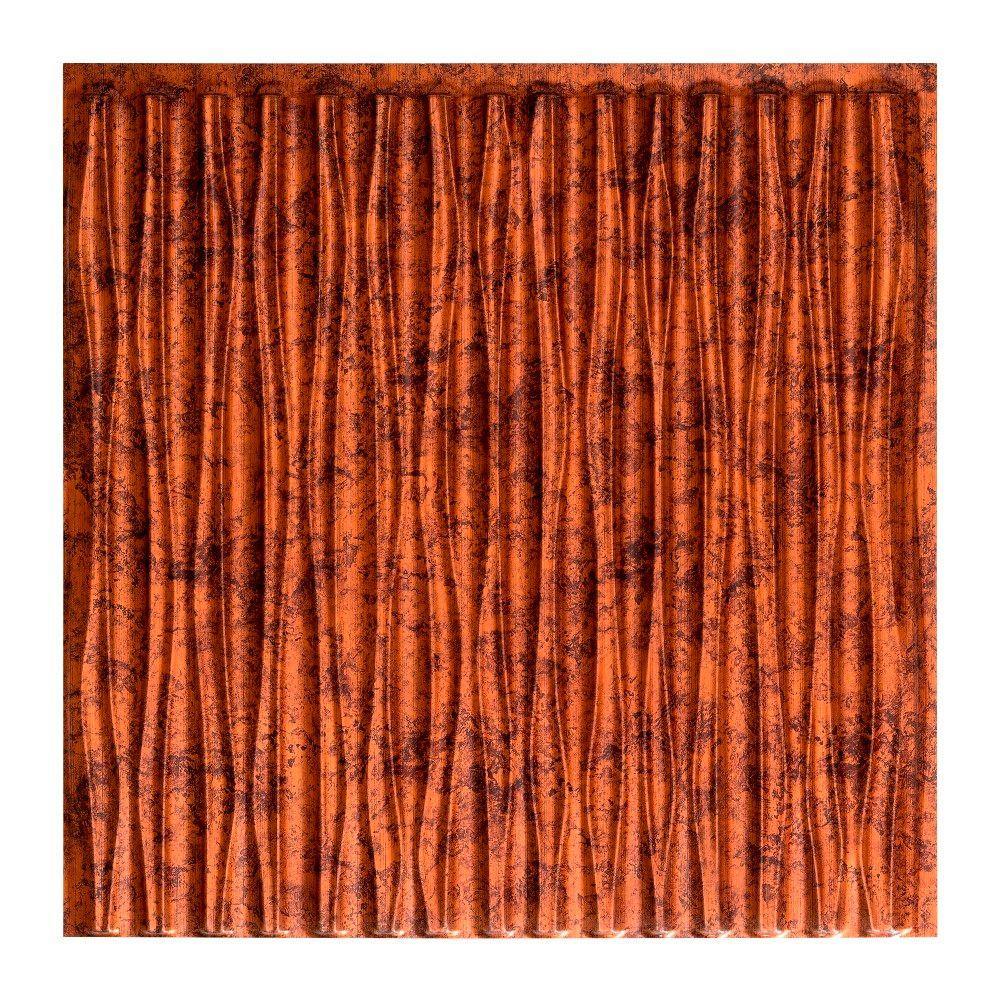 Dunes Vertical - 2 ft. x 2 ft. Glue-up Ceiling Tile in Moonstone Copper