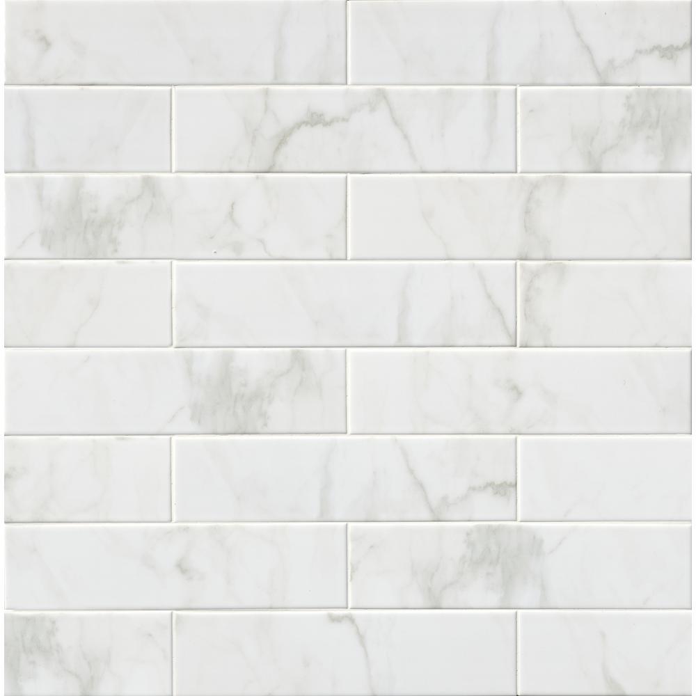 MSI Marmi Blanco White In X In Glazed Ceramic Wall Tile - 8 x 16 white ceramic tile