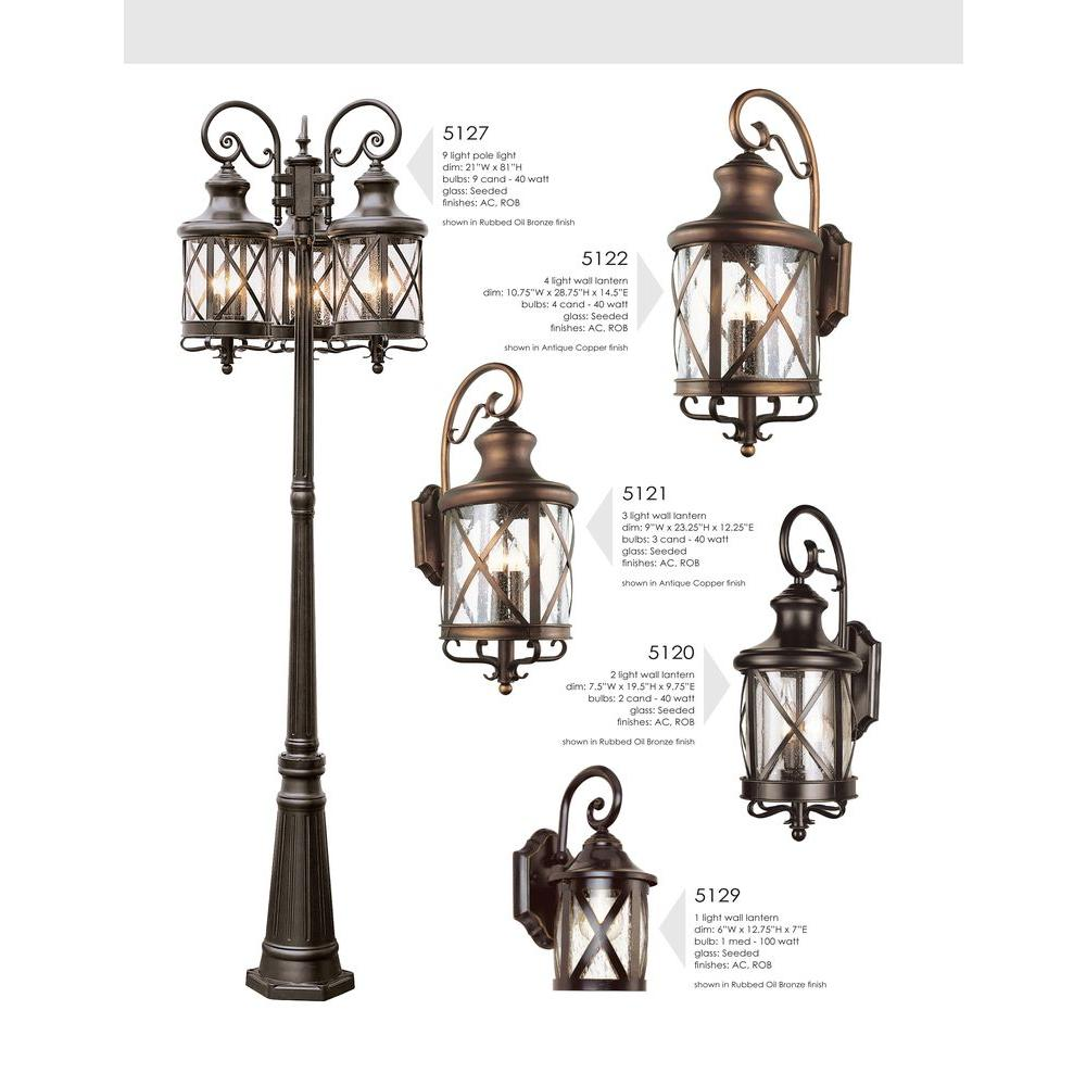 Bel Air Lighting Carriage House 3 Light Outdoor Oiled Rubbed Bronze Post Top Lantern With Seeded Gl