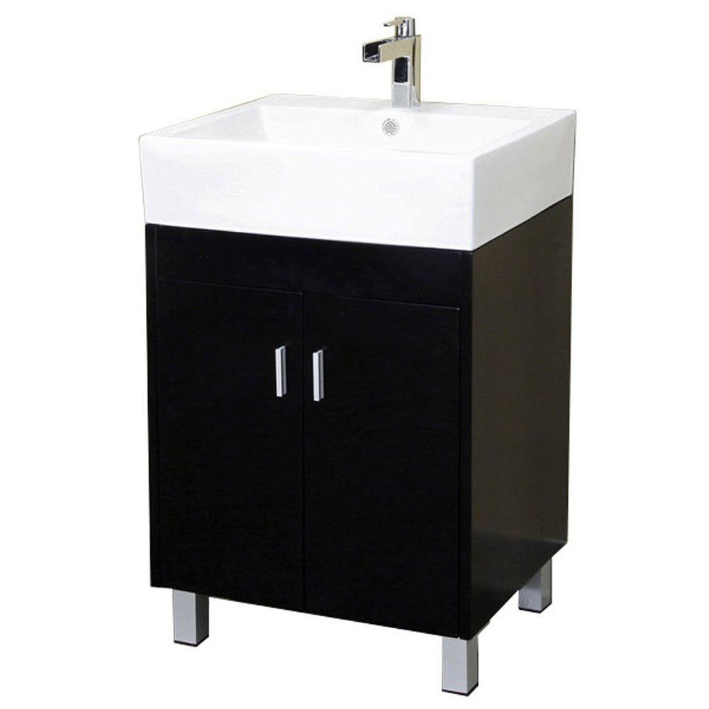 Bellaterra Home Bradford 23 in. Single Vanity in Dark Espresso with Porcelain Vanity Top in White