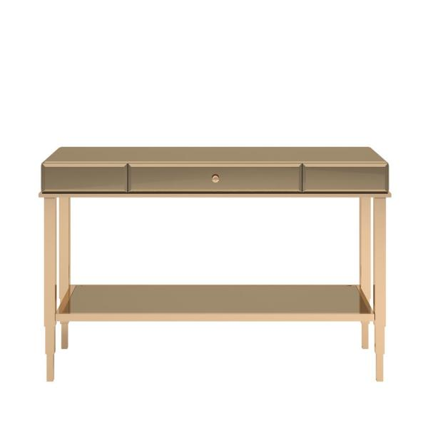 Champagne Gold Mirrored Metal Sofa Table TV Stand with Drawer