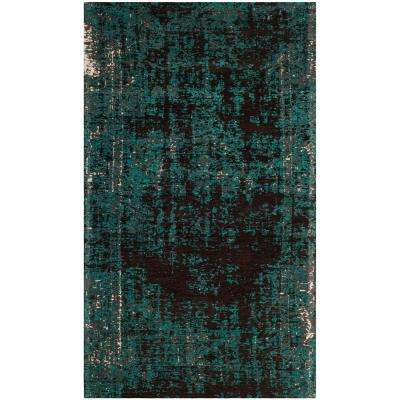 Classic Vintage Teal/Brown 3 ft. x 5 ft. Area Rug