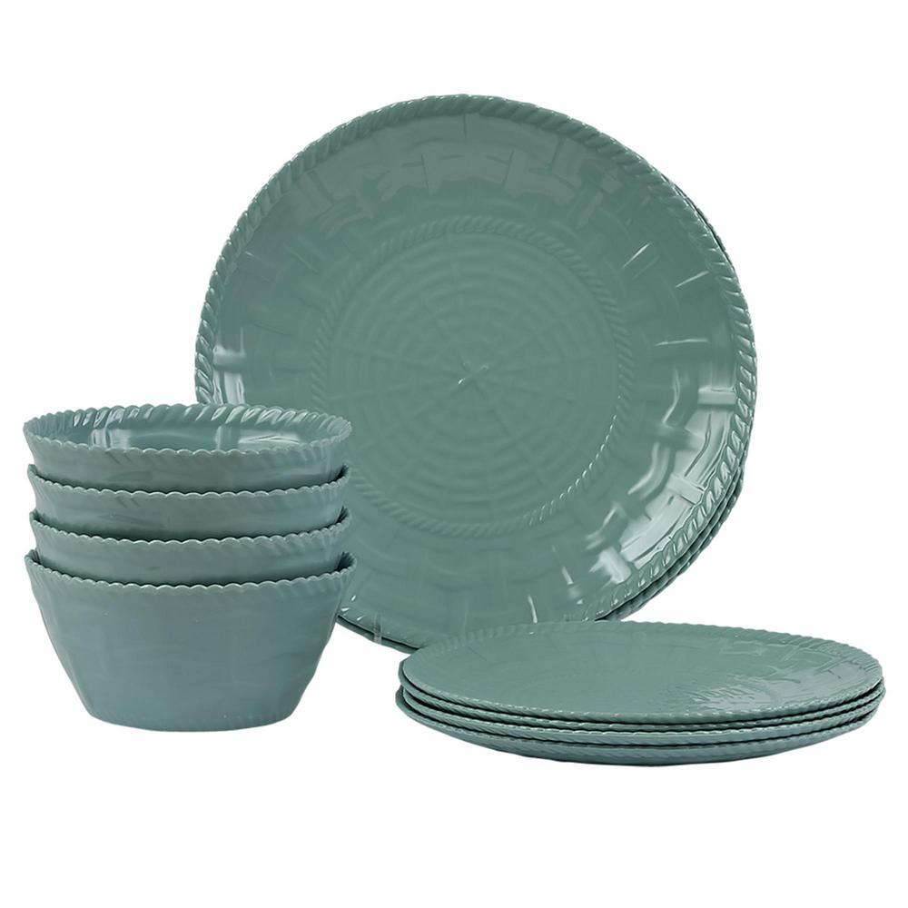 Woven 12-Piece Turquoise Dinnerware Set