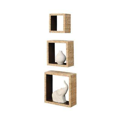 Accented Cork 9.87 in. W x 3.37 in. D Brown Wall Shelf Cubes
