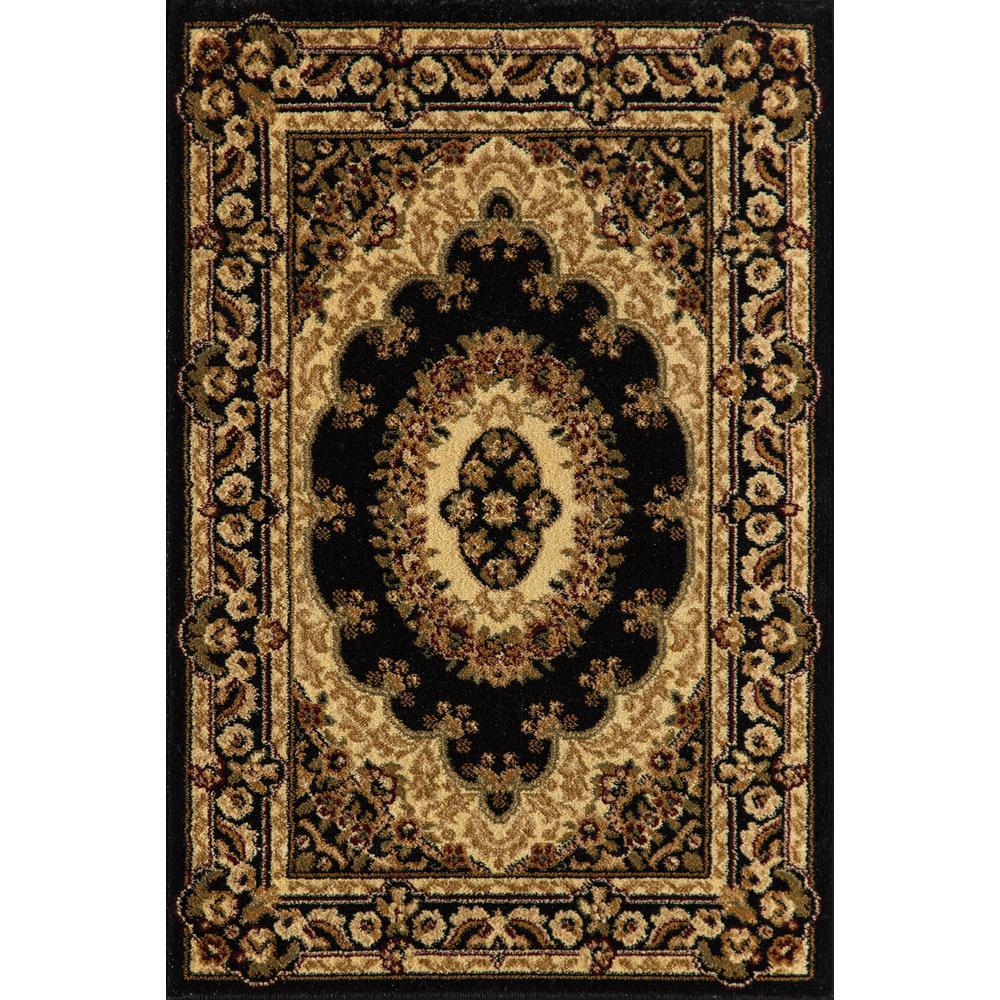 New Vision Kerman Black 2' x 7' ft. Rectangle Oriental Polypropylene Area Rug