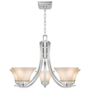 Hampton Bay Nove 5-Light Brushed Nickel Chandelier with White Glass Shades by Hampton Bay