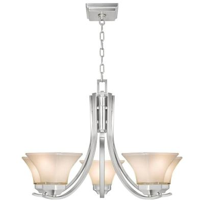Nove 5-Light Brushed Nickel Chandelier with White Glass Shades