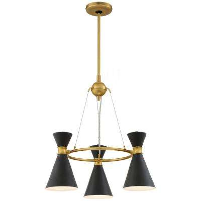 Conic 3-Light Honey Gold Chandelier with Black Metal Shade