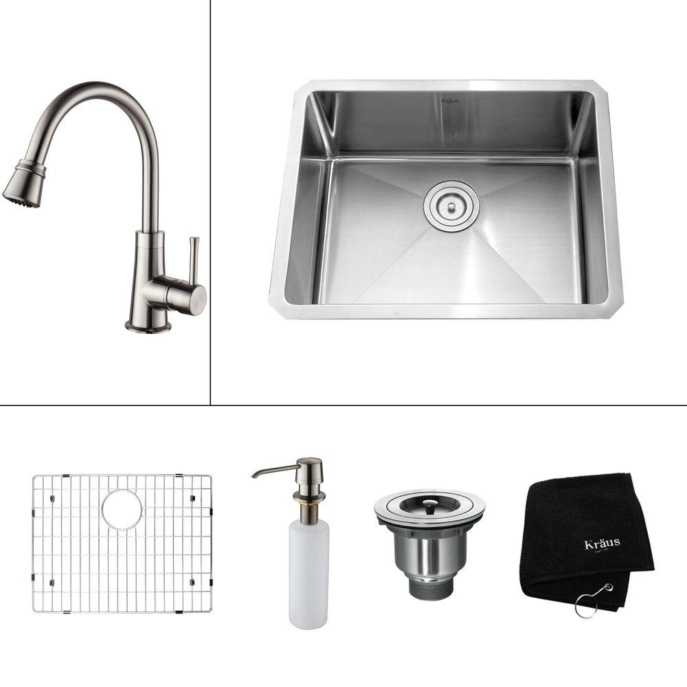KRAUS All-in-One Undermount Stainless Steel 23x18x14.9 in. 0-Hole Single Bowl Kitchen Sink with Satin Nickel Accessories