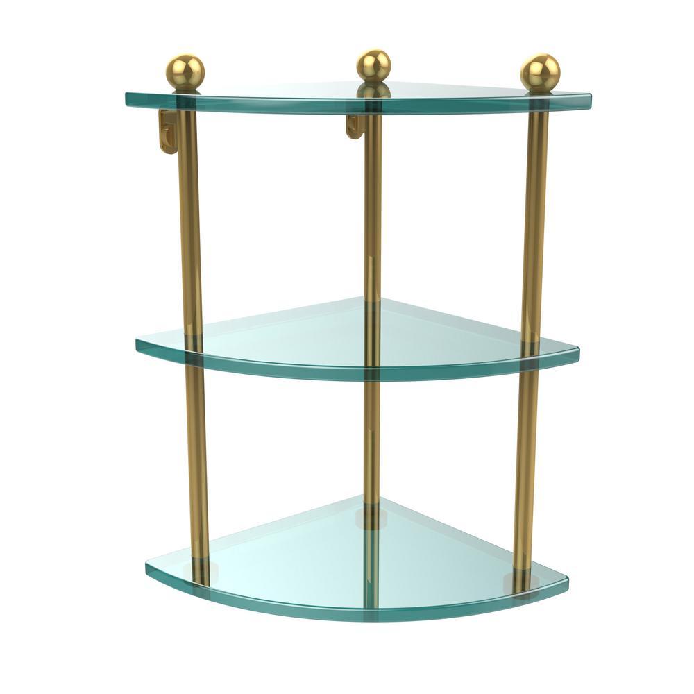 8 in. L  x 15 in. H  x 8 in. W 3-Tier Corner Clear Glass Bathroom Shelf in Polished Brass