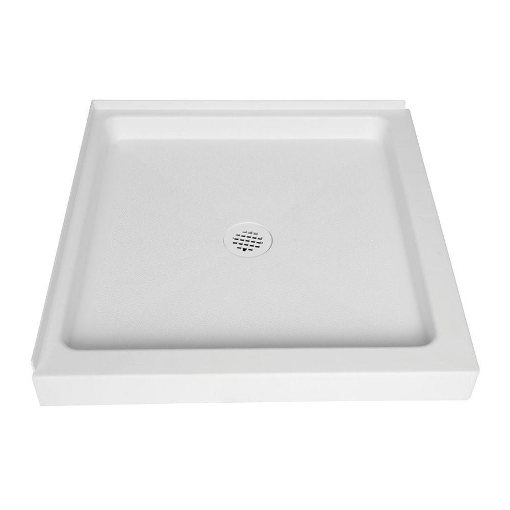 null 32 in. x 32 in. Single-Threshold Corner Shower Base in White