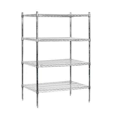 36 in. W x 63 in. H x 24 in. D Galvanized Wire Stationary Wire Shelving in Chrome