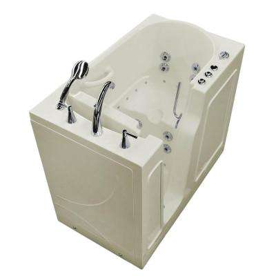 HD Series 46 in. Left Drain Quick Fill Walk-In Whirlpool and Air Bath Tub with Powered Fast Drain in Biscuit