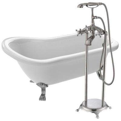 Pegasus 5 ft. Acrylic Clawfoot Non-Whirlpool Bathtub in White with Tugela Faucet with Hand Shower