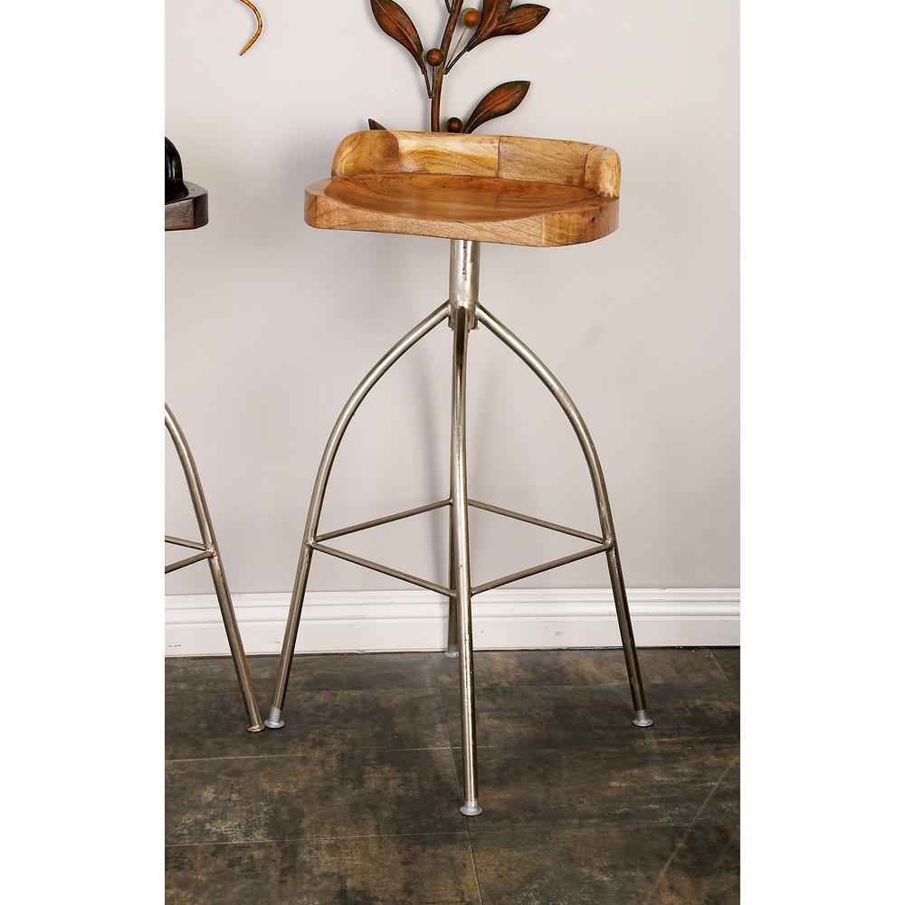 Silver Metallic Iron Bar Stool with Oak Brown Wooden Seat  sc 1 st  The Home Depot & 35 in. Silver Metallic Iron Bar Stool with Oak Brown Wooden Seat ... islam-shia.org