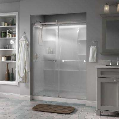 Lyndall 60 in. x 71 in. Semi-Frameless Contemporary Sliding Shower Door in Nickel with Niebla Glass