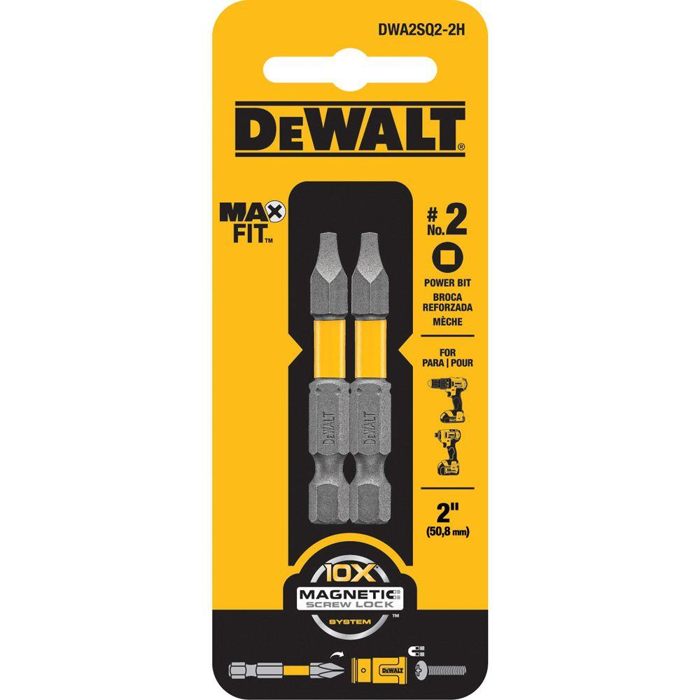 DEWALT 2 in. MAXFIT SQ2 Steel Screw Driving Bit Tip (2-Pack)